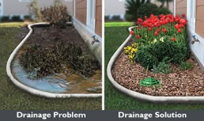 Ponding water is easily removed from landscape with a repaired channel and french drainage system in Keller Texas by Andys Sprinkler Drainage Systems plus installed as well